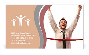 Young businessman breaking the line Business Card Templates