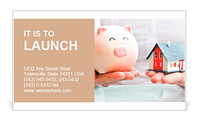 Hands holding a piggy bank and a house model. Housing industry mortgage plan and residential tax sav Business Card Template