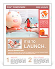Hands holding a piggy bank and a house model. Housing industry mortgage plan and residential tax sav Flyer Template