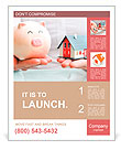 Hands holding a piggy bank and a house model. Housing industry mortgage plan and residential tax sav Poster Template