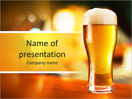 glass of light beer on a dark pub powerpoint template backgrounds
