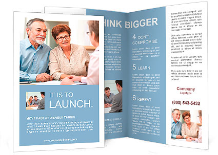 senior couple discussing financial plan with consultant brochure template