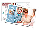 Senior couple discussing financial plan with consultant Postcard Template