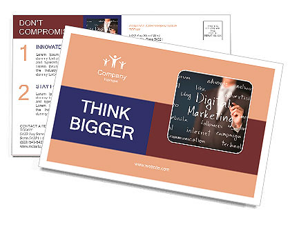 Business man writing digital marketing concept postcard template business man writing digital marketing concept postcard template fbccfo Gallery