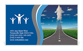No limits success concept with a road or highway going forward fading into the sky with a group of c Business Card Template