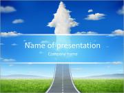 No limits success concept with a road or highway going forward fading into the sky with a group of c PowerPoint Templates