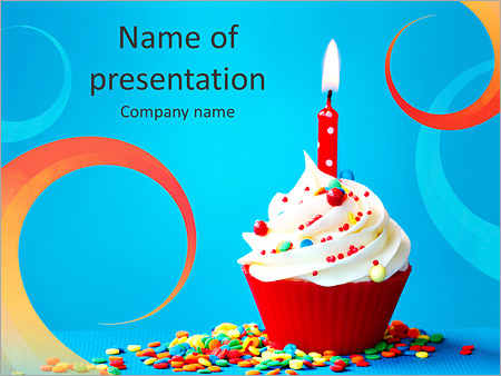 Birthday Cupcake Powerpoint Template Backgrounds Google Slides