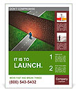 Business challenge and financial obstacles concept with a businessman standing in front of a large b Poster Template