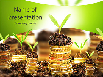 Golden coins in soil with young plant isolated. Money growth concept. PowerPoint Template