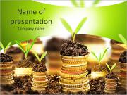 Golden coins in soil with young plant isolated. Money growth concept. PowerPoint Templates