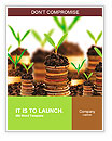 Golden coins in soil with young plant isolated. Money growth concept. Word Templates