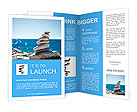 Stones balance, pebbles stack over blue sea in Croatia. Blue sky on sunny adriatic coast in summer. Brochure Template
