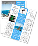 Stones balance, pebbles stack over blue sea in Croatia. Blue sky on sunny adriatic coast in summer. Newsletter Template