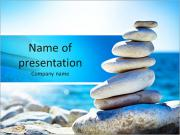 Stones balance, pebbles stack over blue sea in Croatia. Blue sky on sunny adriatic coast in summer. PowerPoint Templates