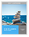 Stones balance, pebbles stack over blue sea in Croatia. Blue sky on sunny adriatic coast in summer. Word Templates