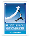 Jumping businessman with business growing graph cloud Ad Template