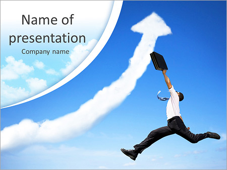 Jumping Businessman With Business Growing Graph Cloud Powerpoint