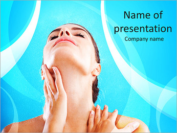 Woman beauty, young beautiful woman with water sparks PowerPoint Template