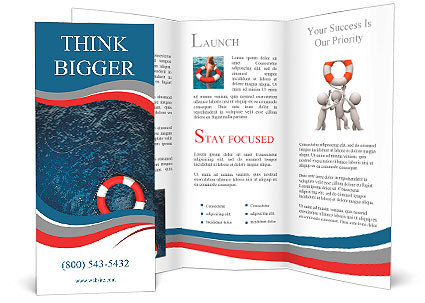 Red Life Buoy In The Water High Resolution Brochure Template