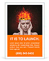 Concept, an idea. head of woman with a flame of fire on black background Ad Templates