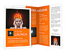 Concept, an idea. head of woman with a flame of fire on black background Brochure Template