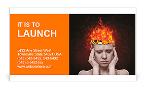 Concept, an idea. head of woman with a flame of fire on black background Business Card Templates