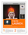 Concept, an idea. head of woman with a flame of fire on black background Flyer Template