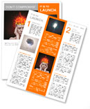 Concept, an idea. head of woman with a flame of fire on black background Newsletter Template