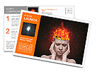 Concept, an idea. head of woman with a flame of fire on black background Postcard Templates