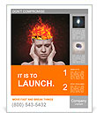 Concept, an idea. head of woman with a flame of fire on black background Poster Templates