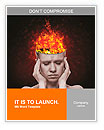 Concept, an idea. head of woman with a flame of fire on black background Word Template