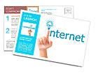 Hand and word internet - business concept Postcard Template