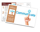 Hand and word communicate. - business concept isolated on white background Postcard Template