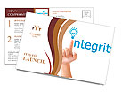 Hand and word integrity. - business concept isolated on white background Postcard Template