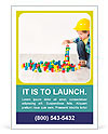 Boy in hard hat playing with blocks: building city. Development and construction concept Ad Templates