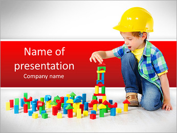 Boy in hard hat playing with blocks: building city. Development and construction concept PowerPoint Template