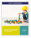 Boy in hard hat playing with blocks: building city. Development and construction concept Word Template
