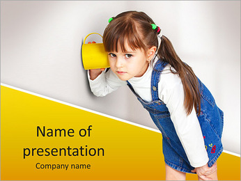 Child girl overhear using cup PowerPoint Template