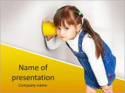 Child girl overhear using cup PowerPoint Templates