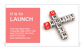 Growth and profit crossword Business Card Template