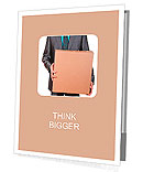 An isolated shot of a businessman carrying a paper box, business moving concept Presentation Folder