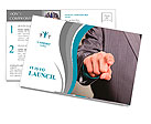 Businessman in suit and tie pointing the finger in front of himself Postcard Templates
