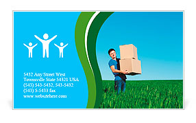 Smiley man in blue t-shirt carrying boxes Business Card Template