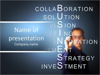 Business man writing business concept by crossword component ( vision - strategy - management - inve PowerPoint Template