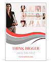 Professional business woman with a networking concept of friends and colleagues. Ad Template