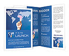 Hand pushing on a touch screen interface Brochure Templates