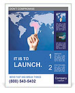 Hand pushing on a touch screen interface Poster Templates