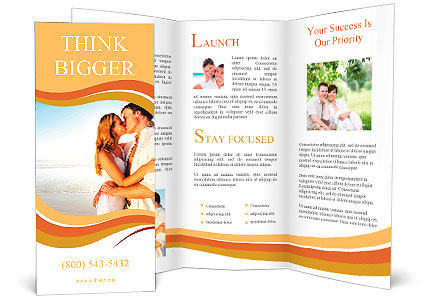 Newlywed Couple Kissing On Honeymoon Beach Vacation In Summer And An Intimate Moment Brochure Template