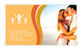 Newlywed couple kissing on honeymoon, beach vacation in summer and an intimate moment. Business Card Template