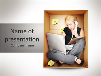 A young business woman is working on a laptop and talking on a phone in a box representing a small o PowerPoint Template